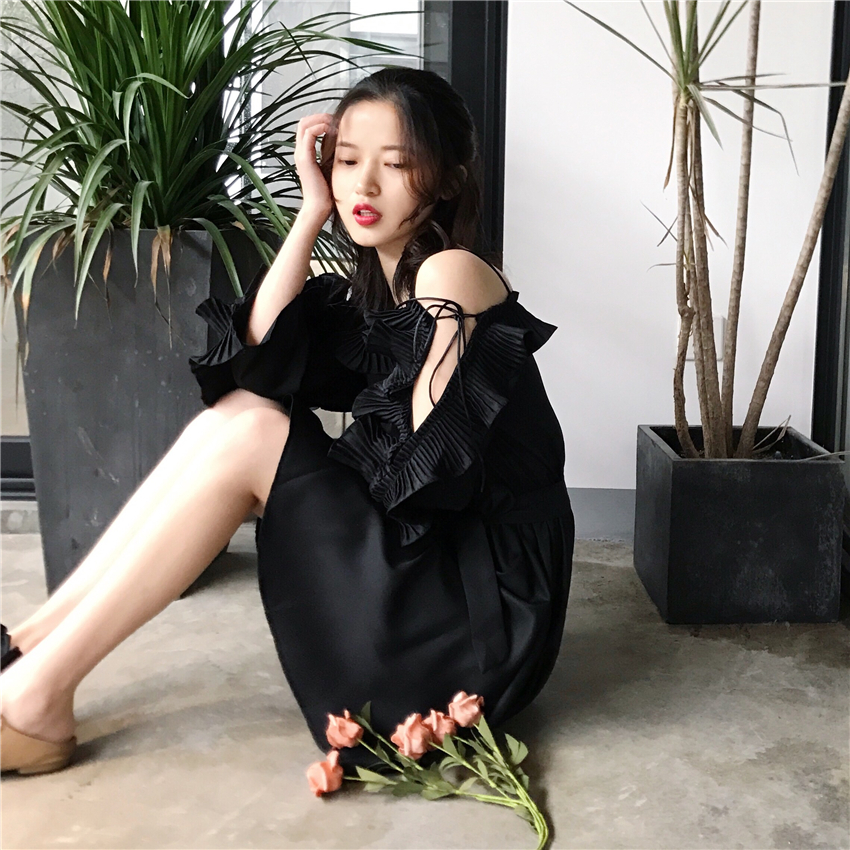 Spring Summer Ruffle Strap Dress Long Sleeve Off The Shoulder Waist Casual Elegant Desses Vintage Office Lady Women Female Dress
