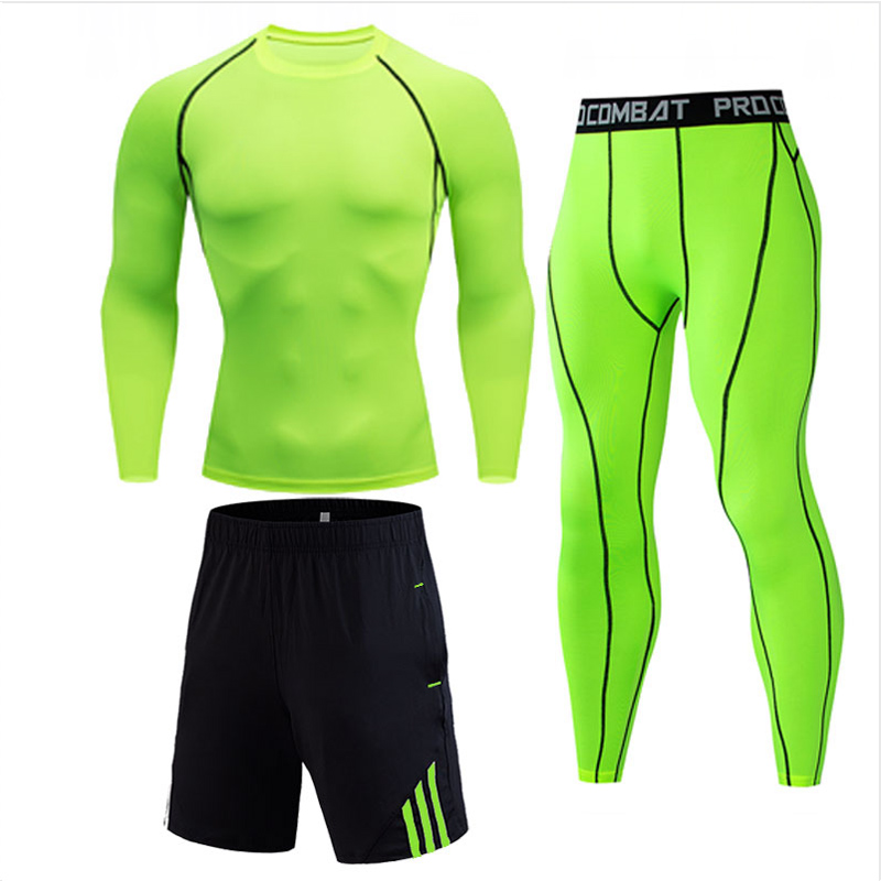 Men's Compression Running Jogging Suits Clothing Sport Set Long T-shirt And Pants Gym Fitness Workout Tights Clothes 2pcs / Sets