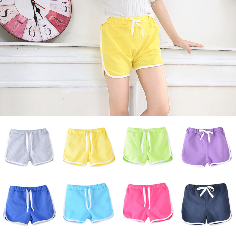 3-13Yrs Kids Shorts Boys Girls Summer Sport Shorts Pants Unisex Children Candy Color Casual Short Pants Trousers Bottoms