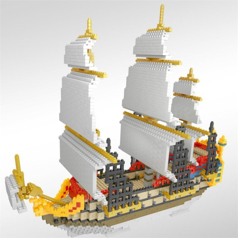 Sailing Boat Building Blocks 3000pcs Small Bricks Sailboat Ship Model Blocks DIY Assemble Toys for Children Gifts voyager 2 4g mini rc sailboat sailing yacht educational toy ready to run enjoy sailing fun