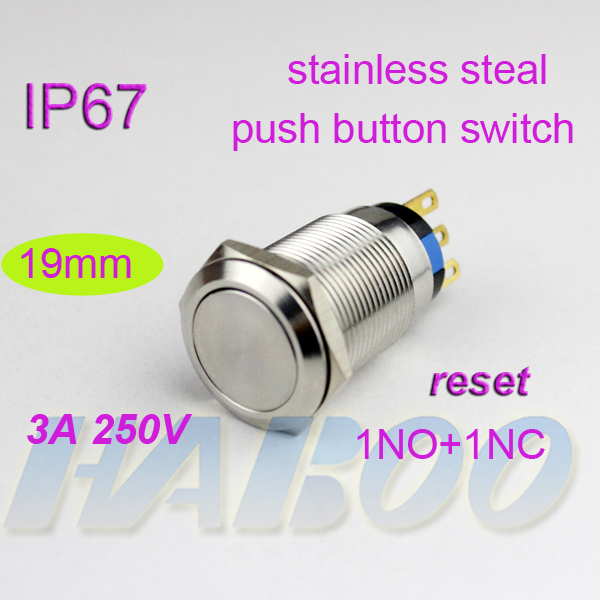 waterproof IP67 HABOO dia.19mm anti-vandal reset metal push button switch 250V 3A flat head shipping free