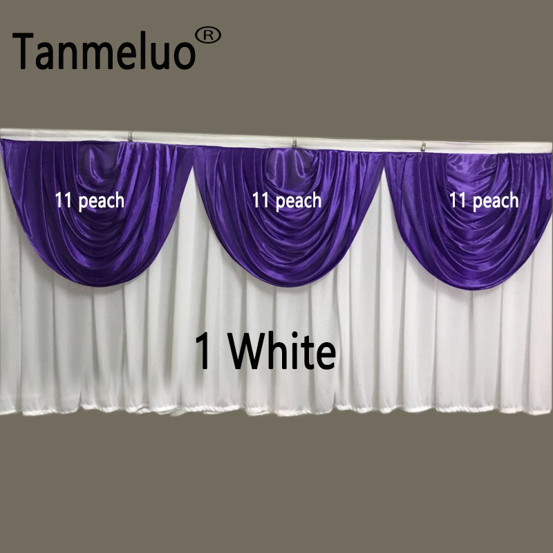 79cm height x 460cm width white and peach wedding table skirts for event party decoration