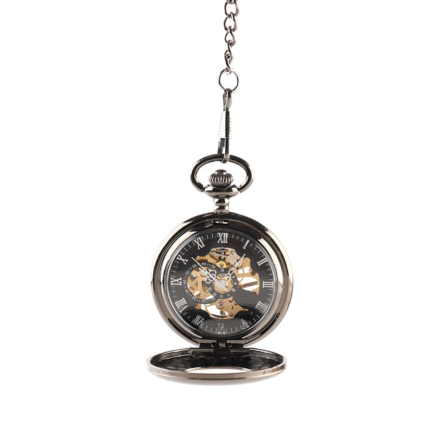 Retro Steampunk Skeleton Mechanical Fob Pocket Watch Clock Pendant With Necklace