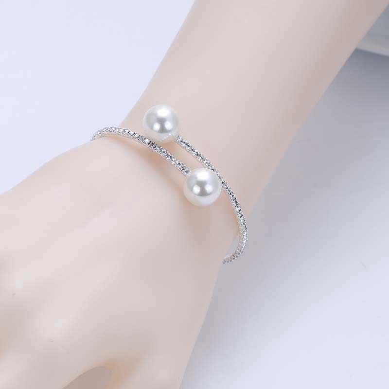 Silver Plated Crystal Bracelet for Women Diamante Rhinestone Simulated Pearl Balls Cuff Bangles Bracelets Wedding Prom Jewerlry