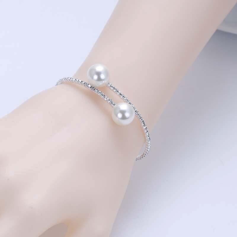 f2ac3c6f4834 Silver Plated Crystal Bracelet for Women Diamante Rhinestone Simulated  Pearl Balls Cuff Bangles Bracelets Wedding Prom Jewerlry