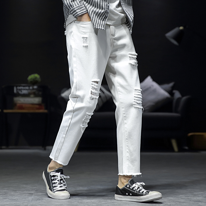 Oversize M-5XL Men Ripped Denim Harajuku Cotton Slim Fit Pant Pantalon Homme Casual Jean Trousers Clothing Streetwear 3 Colors