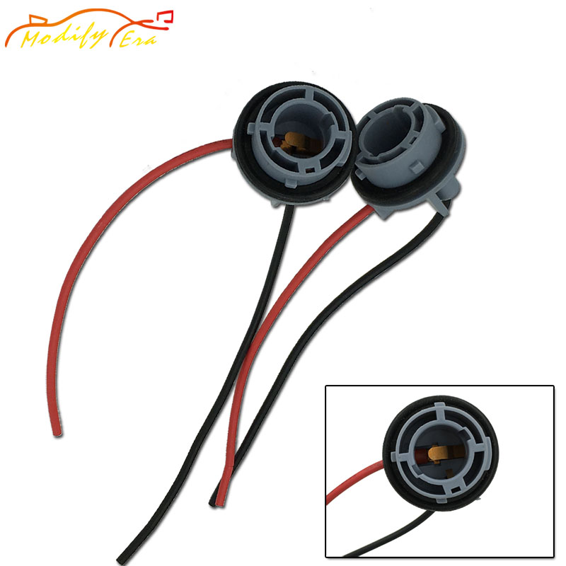 Modify.Era 2pcs 1156 BA15S P21W Car Led Bulb Lamp Socket Adapter Connector Harness Wiring For Car Brake Turn Signal Backup Light