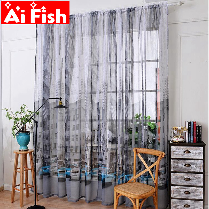 New Arrivel Cartoon Car Printing Cotton Fabric Gauze Custom Finished Kitchen Curtains Kids Curtains For Living Room DF020#20