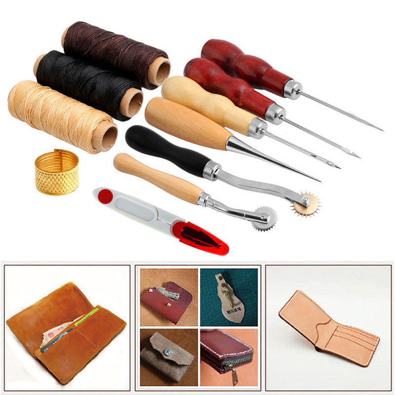 13Pcs Leather Craft Hand Stitching Sewing Tool Thread Awl Waxed Thimble Kit High Quality