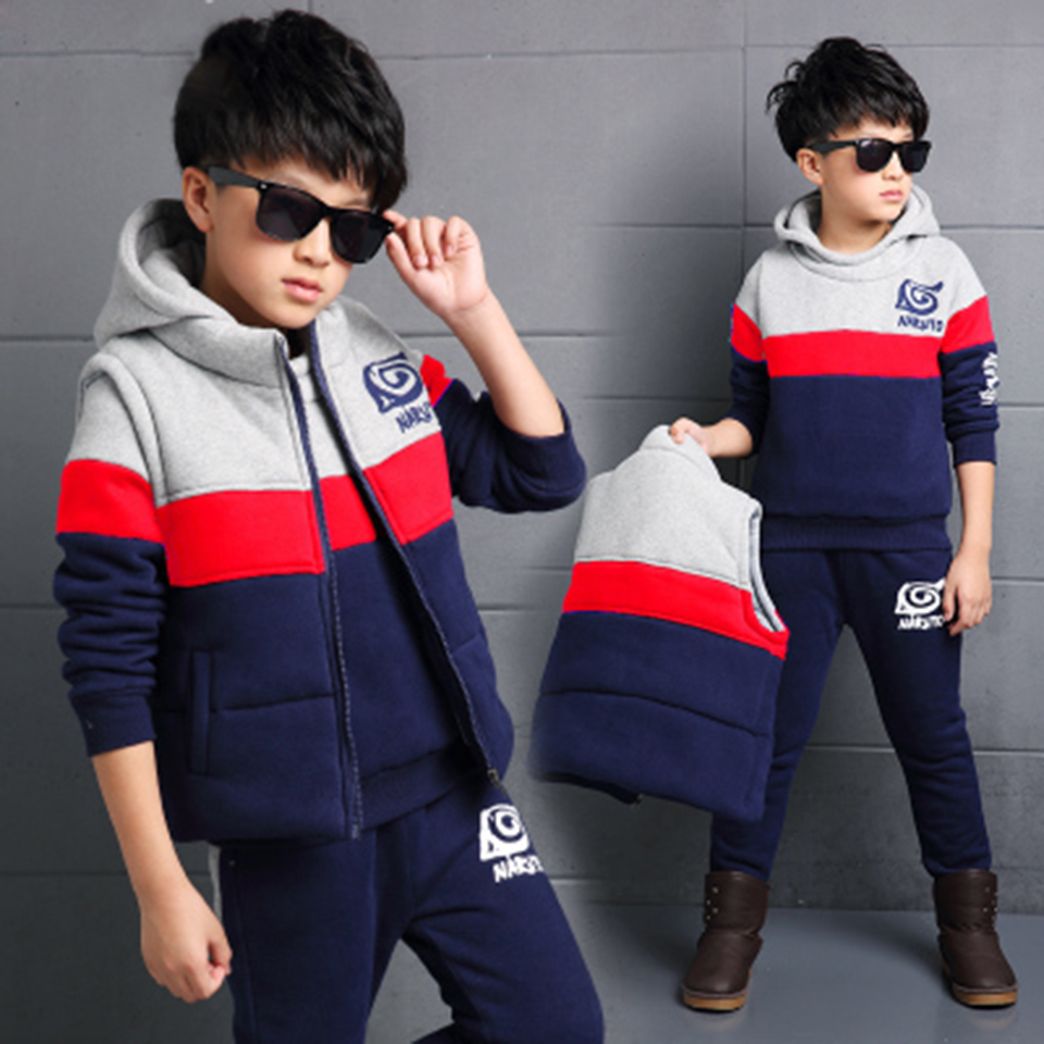 Full Sleeve Jacket Coat Tops + Pants +Vest Clothes 3PCS Autumn Spring Kids Clothes Hooded Children Kids Boys Clothing Set 2015 autumn girls clothes fashion punk pu leather coat jacket shirt pants 3pcs children clothing set 4 15 years old kids clothes page 10