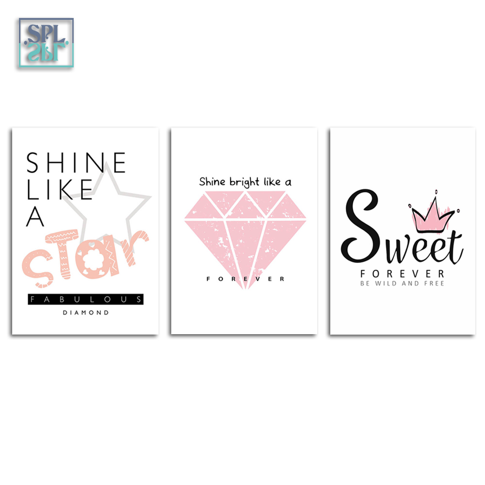 Splspl Fashion Pink Diamond Sweet Quotes Poster Cute Girls Room