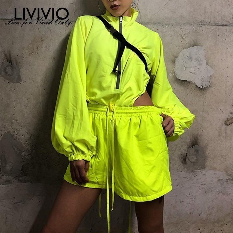 LIVIVIO Neon Green Two Piece Set For Women Lantern Long Sleeve Zipper Sexy Playsuits High