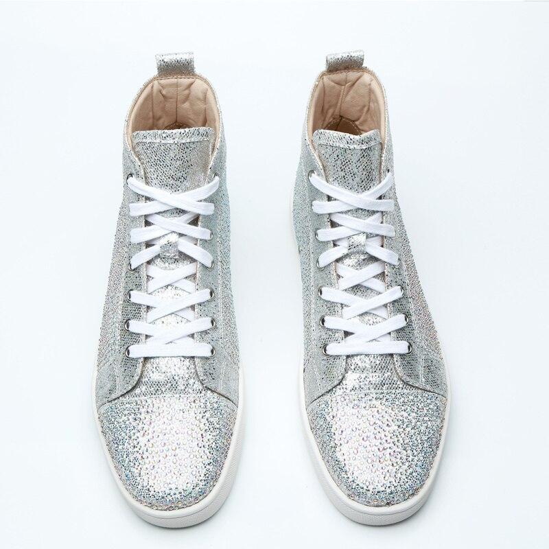 Style chaud hommes baskets haut à lacets hommes chaussures décontractées Bling paillettes tissu hommes chaussures marque Super Star chaussures plates pour homme chaussures hommes