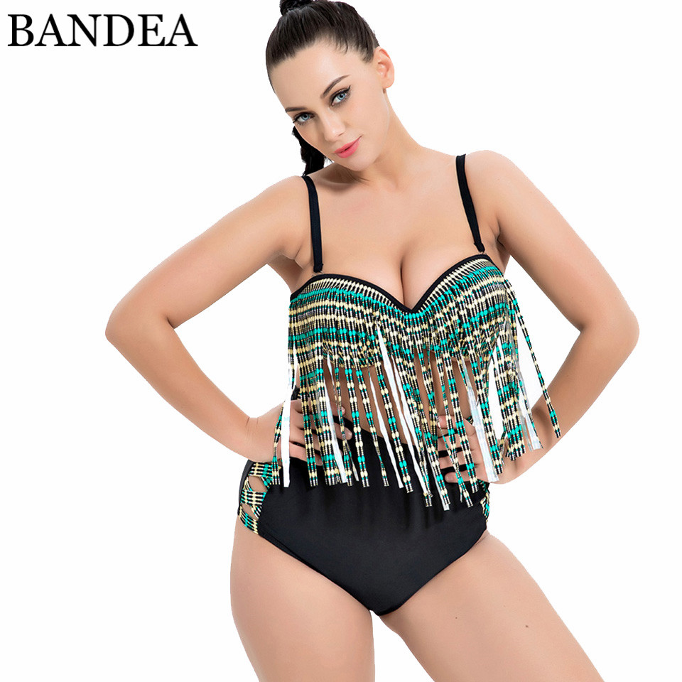BANDEA Women Bikini Set Sexy High Waist Swimwear Retro Tassel Swimsuit Beach Wear Push Up Bathing Suit Plus Size Biquini hot sale women ladies sexy retro padded push up tassel high waist plus size bikini swimwear swimsuit bathing