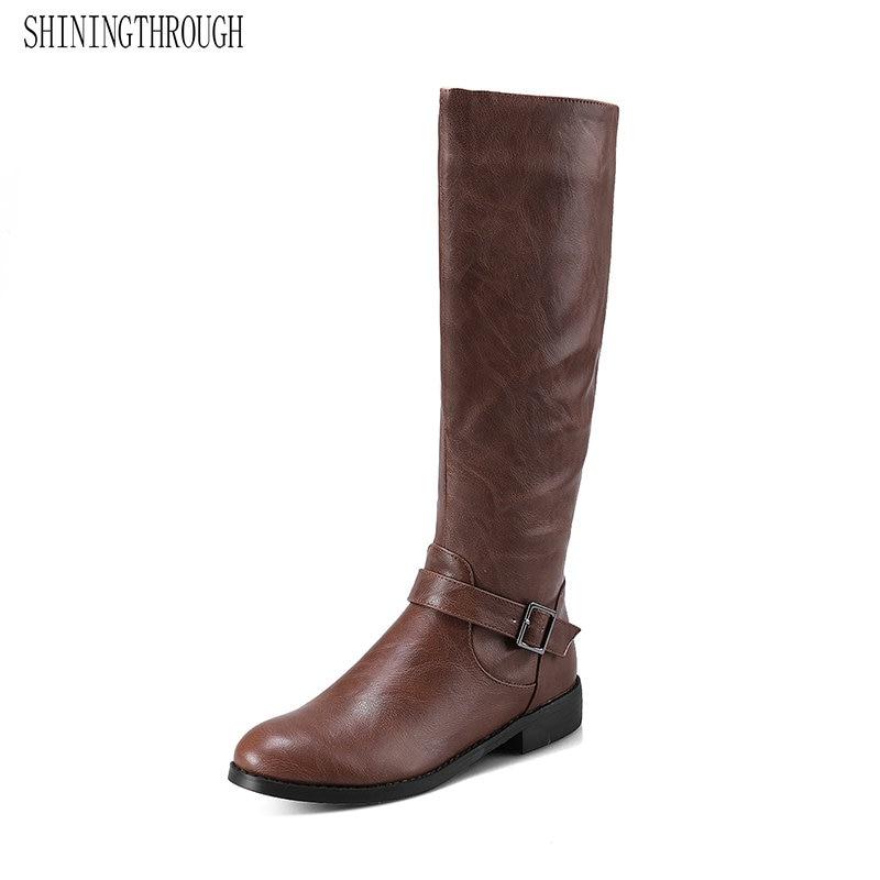 SHININGTHROUGH winter new lambs wool inside Knight boots women low-heeled knee boots, knee high boots zipper johnny lambs повседневные брюки
