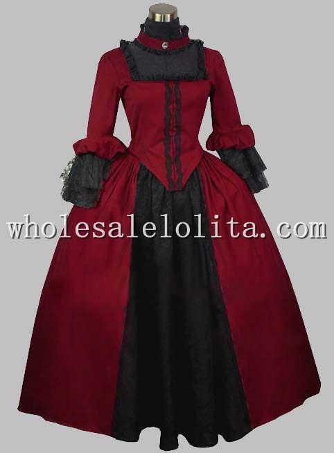 Gothic Black and Wine Red Silk-like British Victorian Era Dress Stage Costume