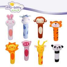 2017 Hot 15.5cm infant Baby Plush Rattle Mobile Bibi bar Toy stick Soft Cat tiger Doll Baby Crib Animal Squeaker Toy Hand Puppet(China)