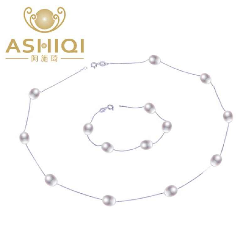 ASHIQI 925 Sterling Silver Jewelry Sets Real Natural Freshwater pearl Necklace Bracelet for women New