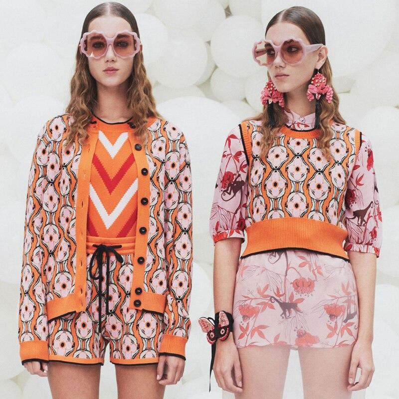 Chic Chandail 3 Pièce Set Femmes Survêtements 2018 Piste Designer Flore Motif Twinset Tricoté Veste Gilet Shorts Costumes Orange
