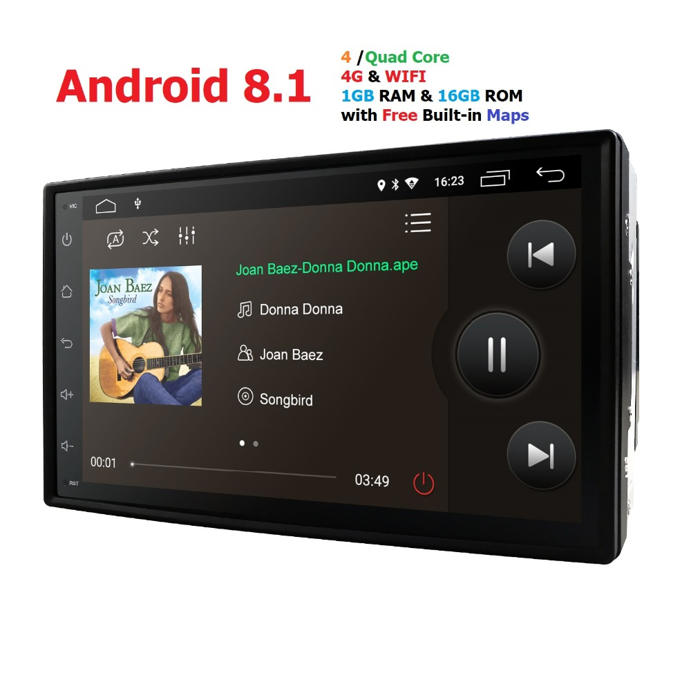 4G 2din android 8.1 autoradio auto Bluetooth simple din lecteur multimédia universel navigation gps 1024*600 cfc dab tpms rds carte