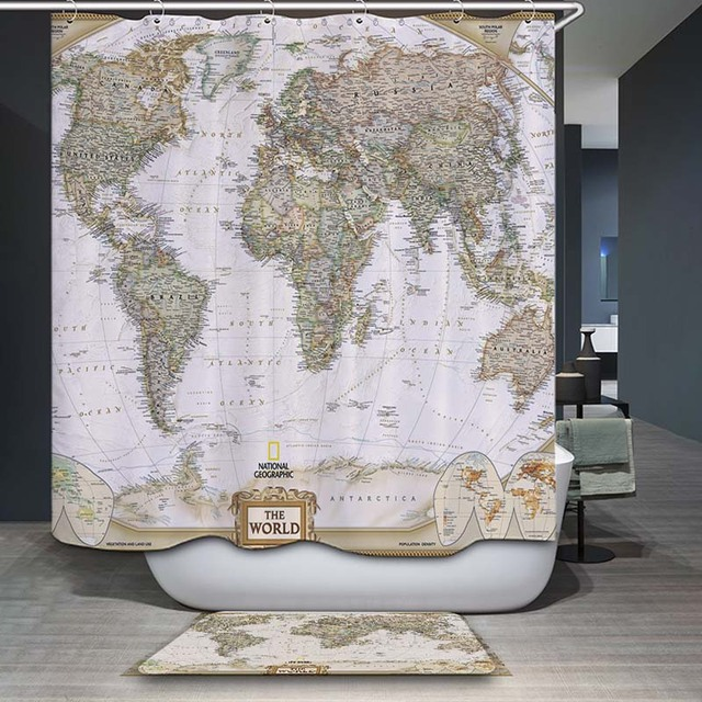 DecorUhome Polyester Waterdicht Vintage Wereldkaart Olifant ...