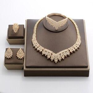 Image 2 - Hadiyana Trendy Noble Micro Pave Cubic Zirconia Dubai Jewelry Sets Latest Luxury Bridal Wedding Jewelry Set For Women TZ8025