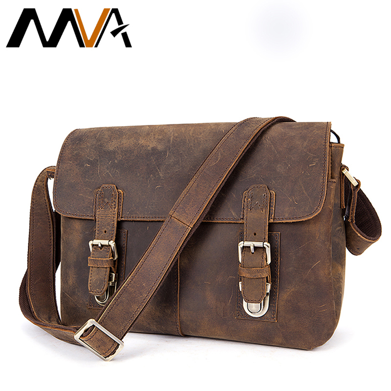 MVA Men Briefcase Genuine Leather Bag Crazy Horse Documents Office Bags for Mens Messenger Bag Men Shoulder Leather Laptop Bags new men s crazy horse genuine leather messenger shoulder pack documents business portable clutch bag portable wrist bag