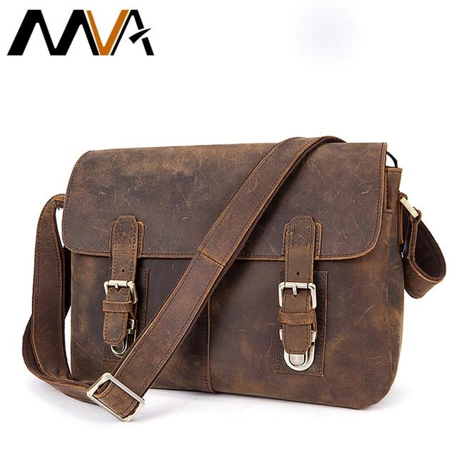 Mva Men Briefcase Genuine Leather Bag Crazy Horse Doents Office Bags For Mens Messenger