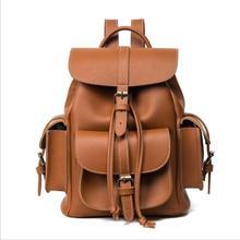 Женские кожаные рюкзак коричневый, черный Малый старинные шнурок мешок рюкзак школьные сумки для подростков Повседневная Путешествия Рюкзак для девочек