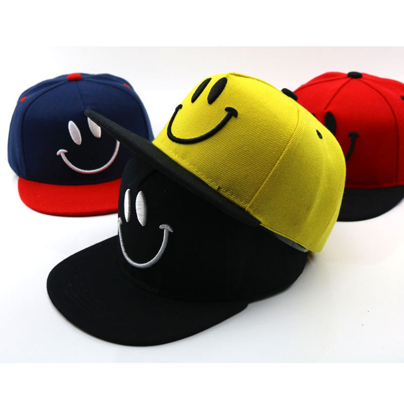 Hip Hop Children's Hat Smiley Face Cartoon Child   Baseball     Cap   Embroidery Colorblock Hats Spring Summer Visor Hat For Girl Boy