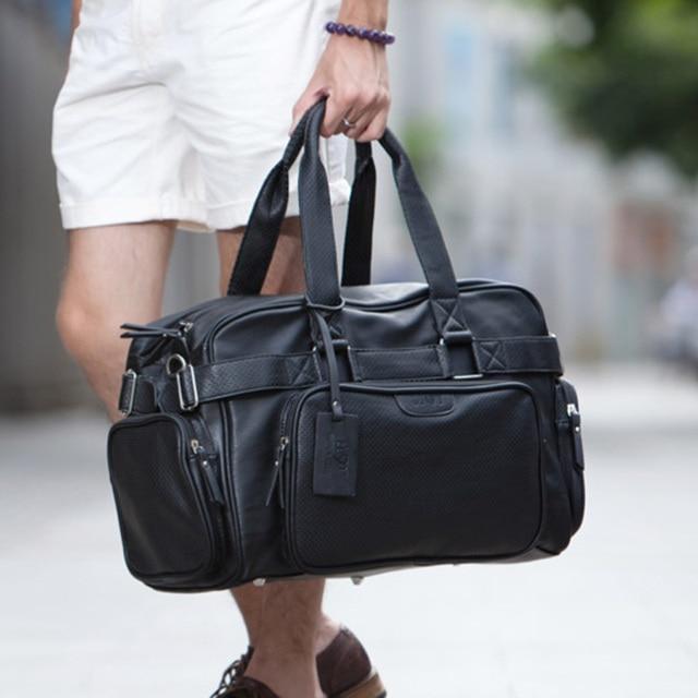 Moda de cuero para hombre Bolsas de viaje gran capacidad impermeable duffle  bag vintage equipaje de 3edcbc59d8482