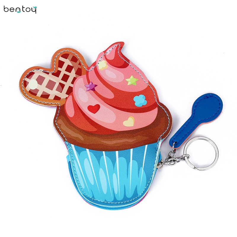 Cartoon Cute Ice Cream Shaped Leather Women Money Bag Fashion Key Chain Ring Clutch Small Wallet Coin Purse Pocket цена