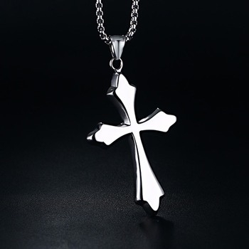 5e3d8d4476f2 Los hombres de Mujer Simple cruz crucifijo colgante Acero inoxidable collar  de titanio de tono de plata joyas con 24 pulgadas cadena