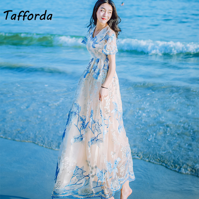 Tafforda 2018 Spring New Woman Dress V-neck Lace Slim Temperament Embroidery A-Line Dresses Female Wedding and Party Clothes