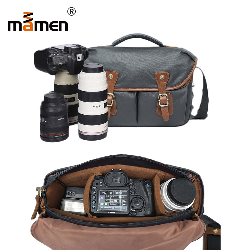 Mamen Camera Bag Waterproof Anti-Dust Outdoor Photography Camera Lens Flash Bag 36*11*28cm Hardware Cowhide Canvas Bag 2018 New