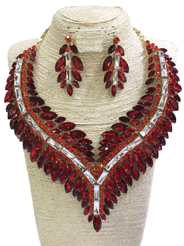Grande taille rhin-pierre bijoux ensembles couleurs femmes mode collier fine bijoux ensembles de mariage or bijoux ensembles strass boucle d'oreille