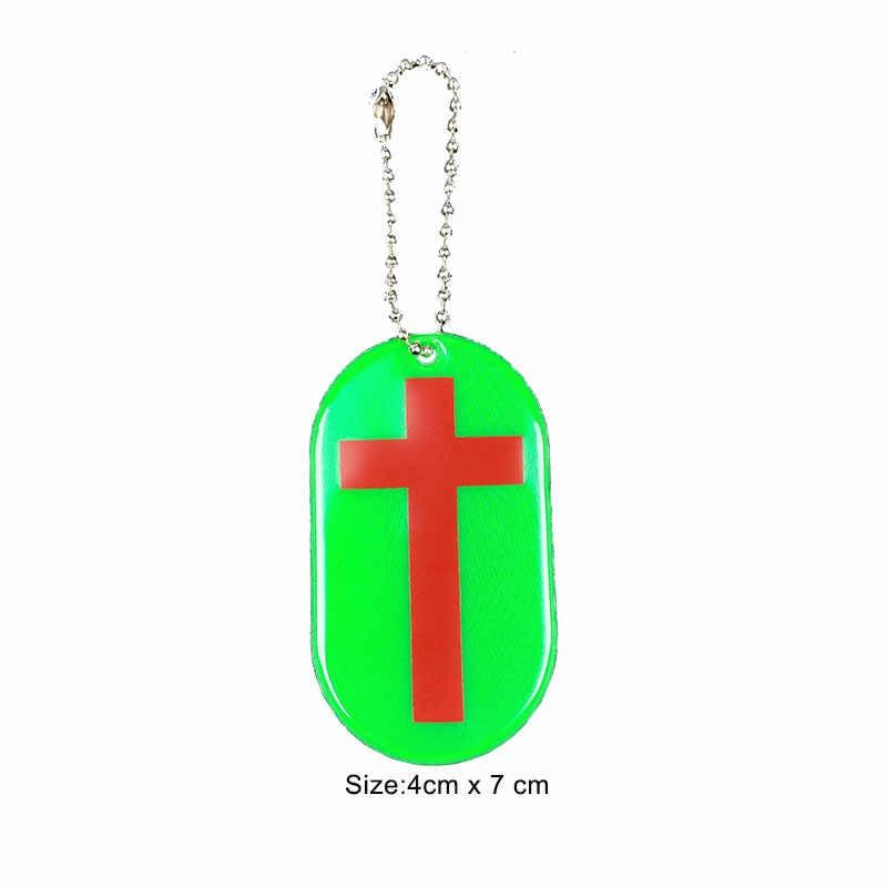 2019 YENI Çapraz Hıristiyan kolye Yansıtıcı çanta anahtarlığı kolye aksesuarları Yüksek görünürlük anahtarlıklar trafik güvenlik kullanımı