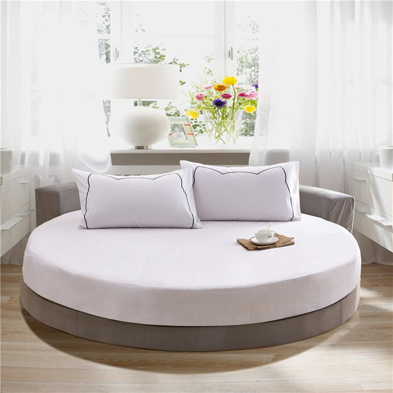 Round Fitted Bed Sheet Set 3Pcs 4Pcs Elastic Mattress Cover Protector Solid color cotton King Size