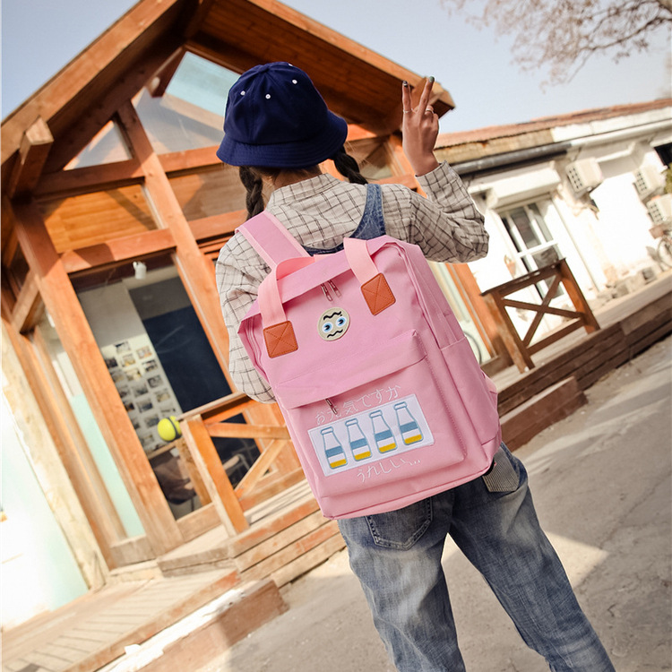 Canvas Tote Backpack South Korea Ulzzang East Gate Milk Bottle Japanese Embroidery Large Computer Student Bag