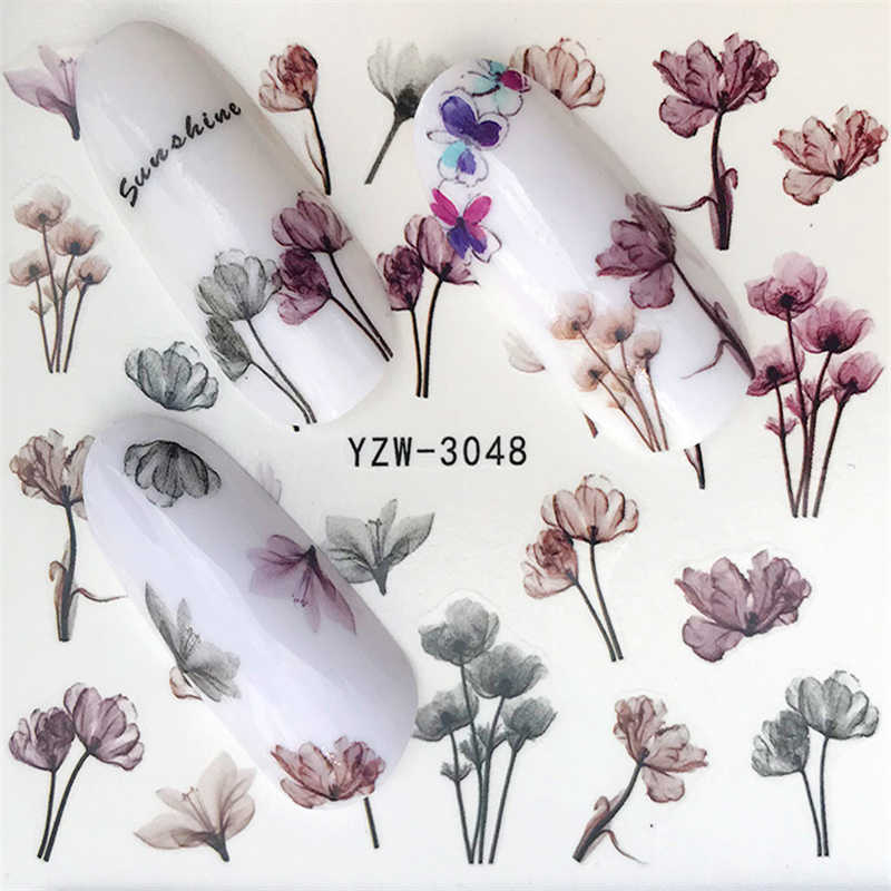 FWC Nail Stickers em Unhas Florescendo Lavanda Flor Adesivos para Unhas Nail Art Transferência de Água Adesivos Decalques