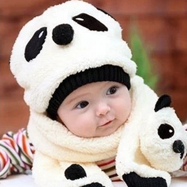 f26cf85ed US $3.45 37% OFF|2019 Autumn Winter Kids Caps Toddler Girl Boy Cute Panda  Hat Scarf Set Fleece Beanie Warm Cap Unisex Two Piece Set Bobble Hat-in ...