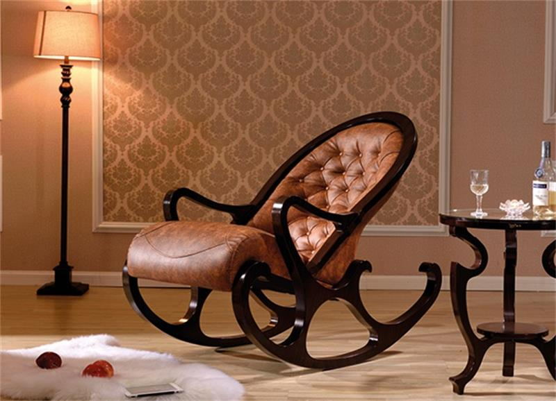 Retro And Elegant Solid Wood Rocking Chair Recliner