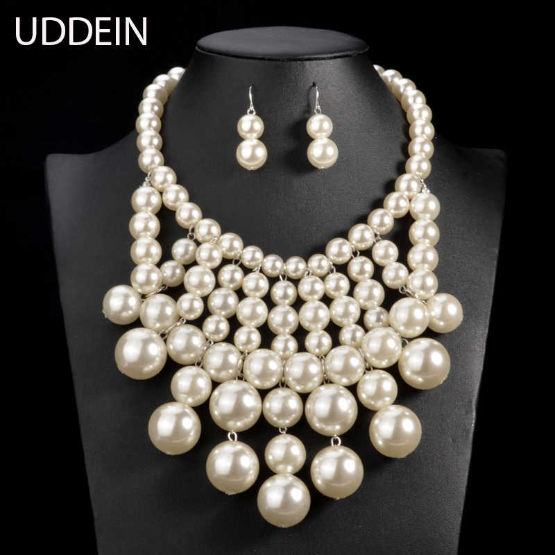 UDDEIN Big Pearl Necklace Sets Multi layer Pearl Tassel Pendant Statement Jewelry Sets Nigerian Wedding India Jewelry Sets
