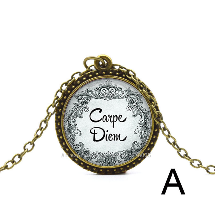 1pc Carpe Diem Necklace Seize The Day Pendant Necklace Glass