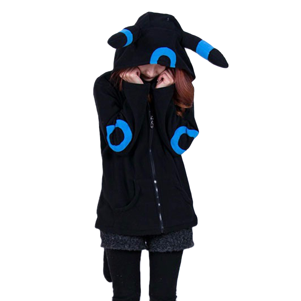 Spring Coats Female Cartoon Pokemon Umbreon Hoody Lovely Jacket Long Sleeves Polar Fleece Sweatshirts