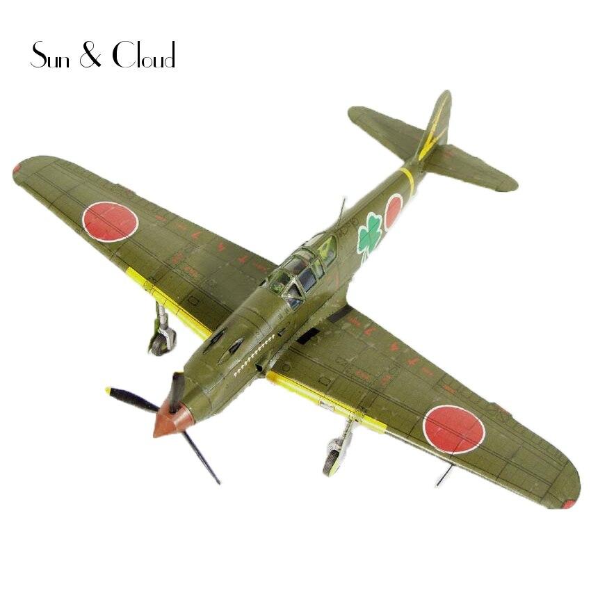 1:50 DIY 3D Japanese Kawasaki Ki-61 Fighter Plane Aircraft Paper Model Assemble Hand Work Puzzle Game DIY Kids Toy