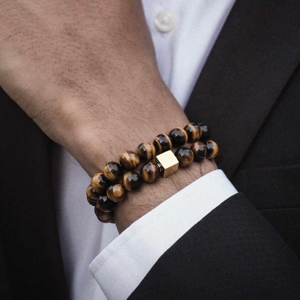 NAIQUBE bransoletka męska 10mm bransoletka z koralików 2019 FashionClassic kamień zroszony Charm bransoletki i Bangles dla mężczyzn biżuteria prezent