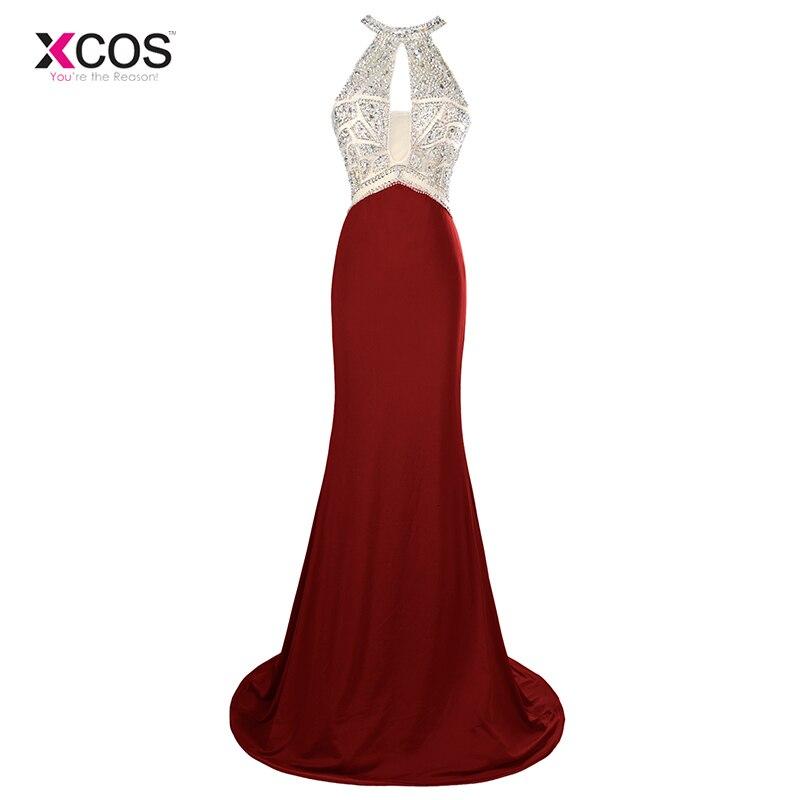 Brillant bordeaux 2018 robes De bal sirène licou perlé cristal Jersey femmes longue Robe De bal robes De soirée Robe De soirée