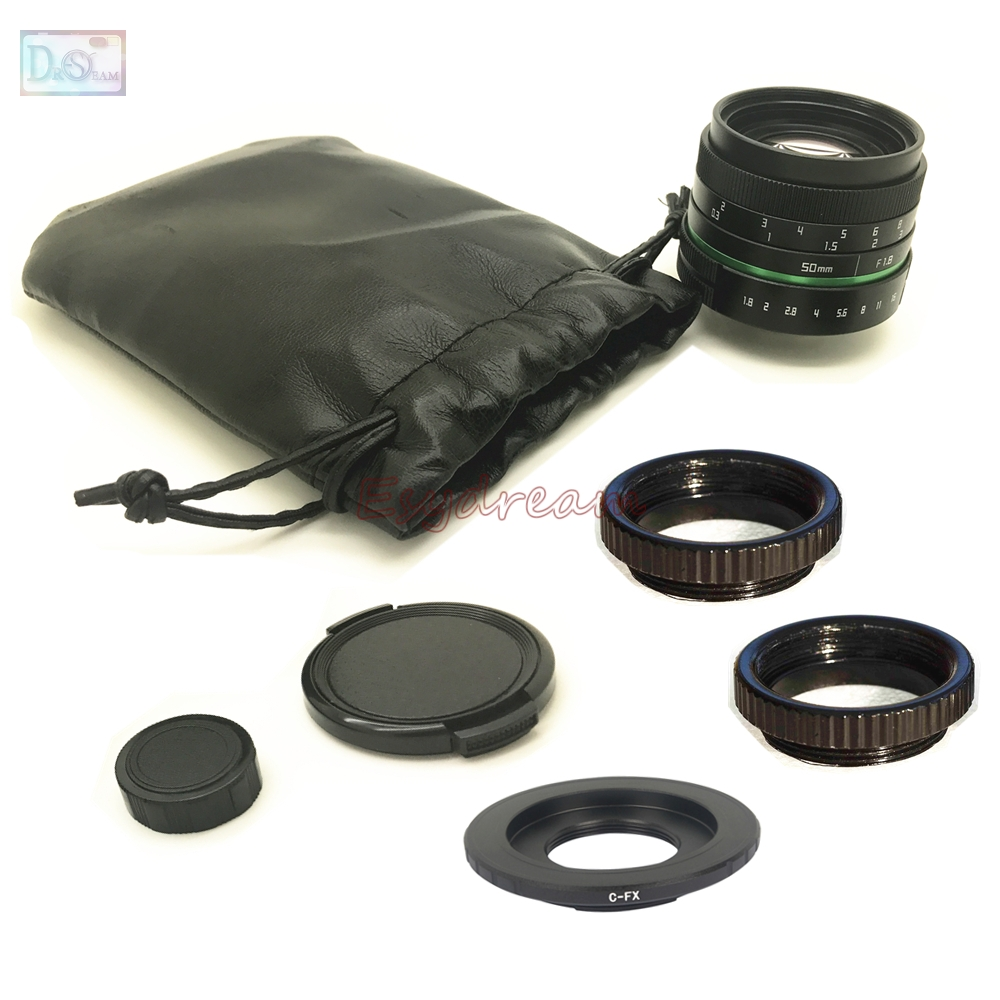 50mm F1.8 Manual Lens + C Mount Adapter + Macro Rings Kit for Fujifilm Fuji FX X-T10 X-T2 X-A10 X-A3 X-PRO2 X-PRO1 X-E1 X-M1 fujifilm x t10 kit 16 50mm 50 230mm серебристый