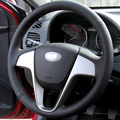 Black Artificial Leather DIY Hand-stitched Steering Wheel Cover for Hyundai Solaris Verna I20 Accent